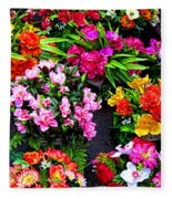 At The Flower Market  Fleece Blanket