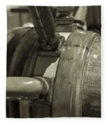 At The Helm Black And White Sepia Fleece Blanket