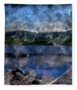 At The Lake - Fishing - Steel Engraving Fleece Blanket