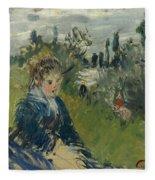At The Meadow. Vetheuil Fleece Blanket