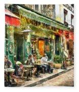 At The Restaurant In Paris Fleece Blanket