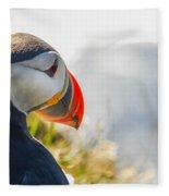 Atalantic Sea Puffin In Close Up Fleece Blanket