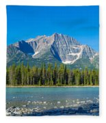 Athabasca River With Mountains Fleece Blanket