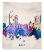 Atlanta Painted City Skyline Fleece Blanket