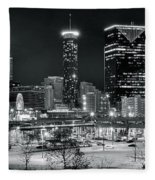 Atlanta Panoramic Black And White Fleece Blanket
