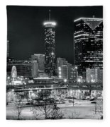 Atlanta Panoramic Black And White Fleece Blanket