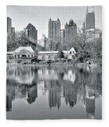 Atlanta Reflecting In Black And White Fleece Blanket