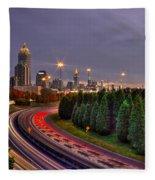 Atlanta Sundown Night Lights Art Fleece Blanket