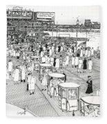 Atlantic City Boardwalk 1940 Fleece Blanket