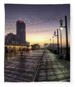 Atlantic City Boardwalk In The Morning Fleece Blanket