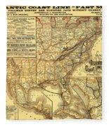 Atlantic Coast Line Railway Map 1885 Fleece Blanket