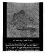 Atlantic Cod Fish Sketch Fleece Blanket