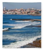 Atlantic Ocean Coast In Cascais And Estoril Fleece Blanket