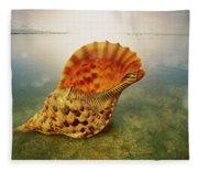 Atlantic Trumpet Triton Shell Fleece Blanket