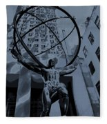 Atlas Rockefeller Center Poster Fleece Blanket