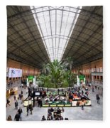 Atocha Railway Station Interior In Madrid Fleece Blanket