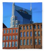 At&t Building And Historic Red Brick Fleece Blanket