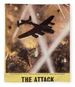 Attack Begins In Factory Propaganda Poster From World War II Fleece Blanket