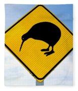 Attention Kiwi Crossing Road Sign Fleece Blanket