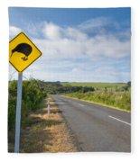 Attention Kiwi Crossing Roadsign At Nz Rural Road Fleece Blanket