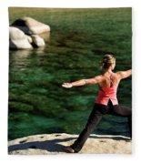 Attractive Woman Doing Yoga Fleece Blanket