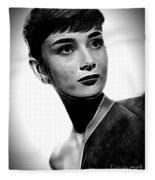 Audrey Hepburn - Black And White Fleece Blanket