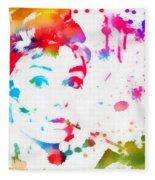 Audrey Hepburn Paint Splatter Fleece Blanket