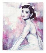 Audrey Hepburn Portrait Fleece Blanket