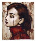 Audrey Hepburn - Quiet Sadness Fleece Blanket
