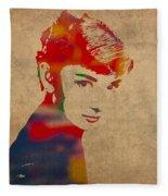 Audrey Hepburn Watercolor Portrait On Worn Distressed Canvas Fleece Blanket