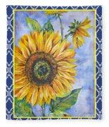 Audrey's Sunflower With Boarder Fleece Blanket
