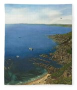 August Afternoon At Whitsand Bay Cornwall Fleece Blanket