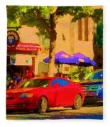 Aupres De Ma Blonde Resto Bar Terrasse Rue St Denis Montreal Cafe Street Scene Art Carole Spandau Fleece Blanket