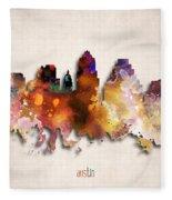 Austin Painted City Skyline Fleece Blanket
