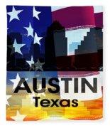 Austin Tx Patriotic Large Cityscape Fleece Blanket