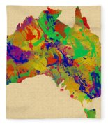 Australia Watercolor   Fleece Blanket