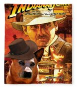 Australian Cattle Dog Art Canvas Print - Indiana Jones Movie Poster Fleece Blanket