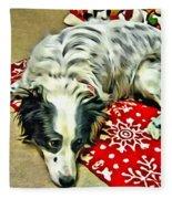 Australian Shepherd Happy Holidays Fleece Blanket