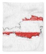 Austria Painted Flag Map Fleece Blanket