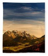 Austrian Autumn Scenic Panorama Fleece Blanket