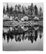Autumn Reflection Black And White Fleece Blanket