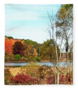 Autmn Pond Closer Look Fleece Blanket