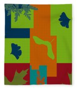 Autumn Abstract A La Matisse Fleece Blanket