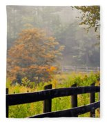 Autumn Along The Fence Fleece Blanket