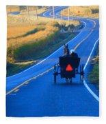 Autumn Amish Buggy Ride Fleece Blanket
