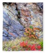 Autumn And Rocks Vertical Fleece Blanket