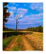 Autumn And The Tree Fleece Blanket