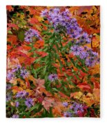 Autumn Asters Fleece Blanket