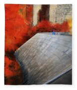 Autumn At Chicago Millennium Park Bp Bridge Mixed Media 03 Fleece Blanket