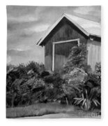 Autumn Barn - Upclose Cropped - Black And White Fleece Blanket
